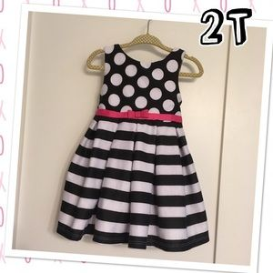 2T special occasion pink black and white dress